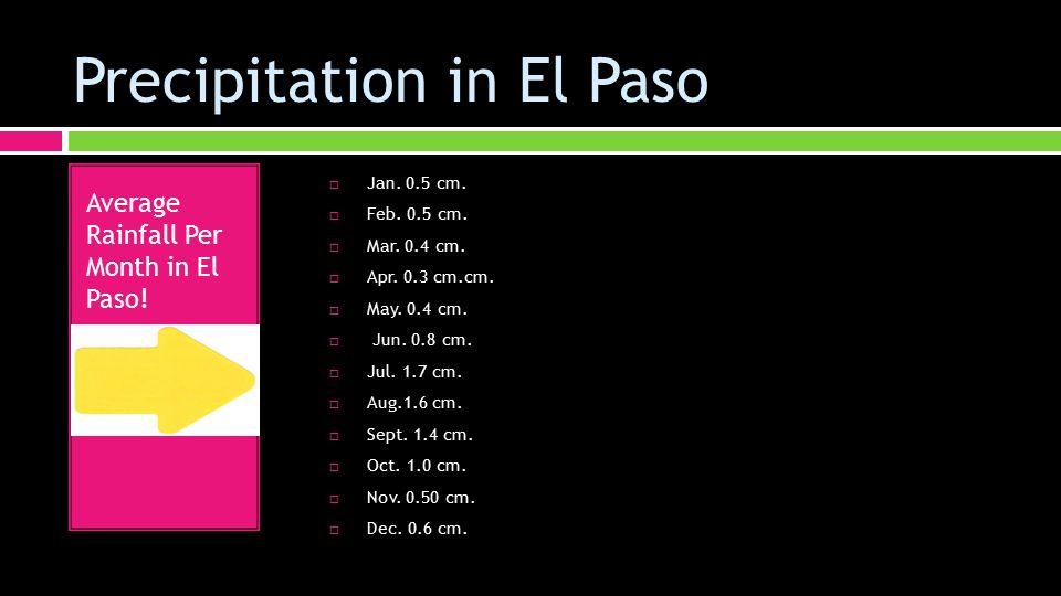 Precipitation in El Paso  Jan. 0.5 cm.  Feb. 0.5 cm.