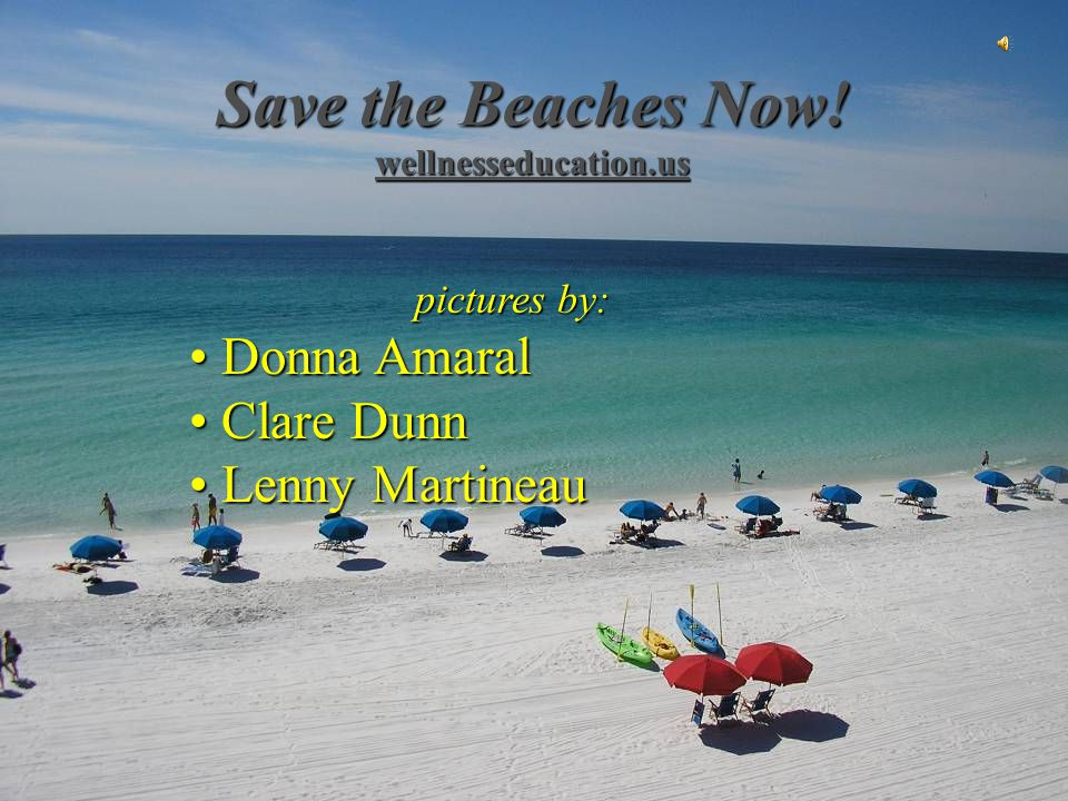 Save the Beaches Now! wellnesseducation.us pictures by: Donna Amaral Donna Amaral Clare Dunn Clare Dunn Lenny Martineau Lenny Martineau