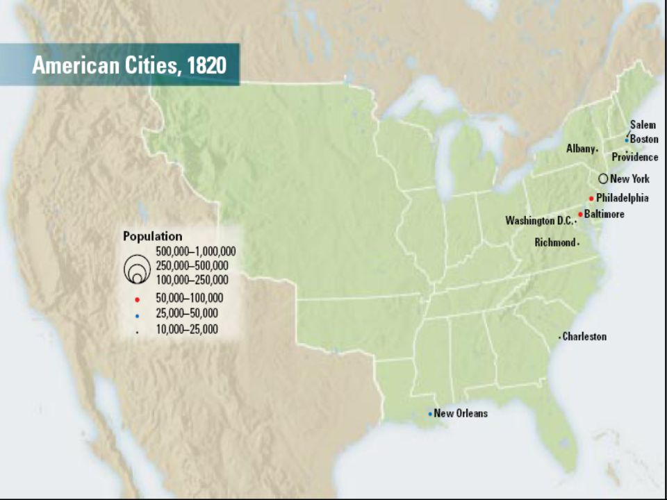 City growth Westward expansion Growth of cities and states by 1850