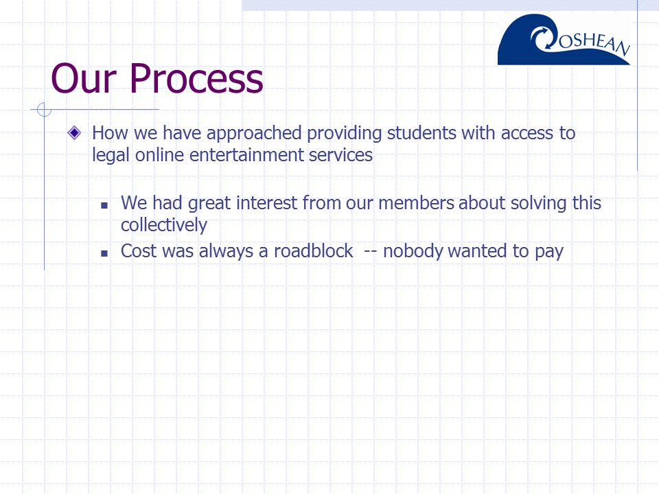 Our Process How we have approached providing students with access to legal online entertainment services We had great interest from our members about solving this collectively Cost was always a roadblock -- nobody wanted to pay