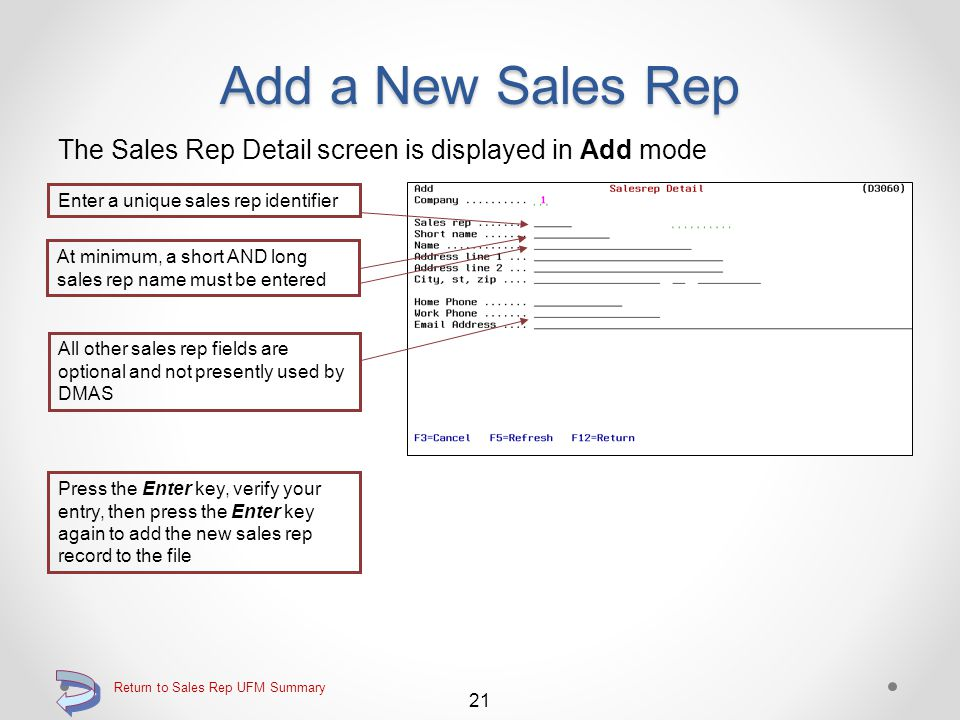 Add a New Sales Rep Use F6=Add record to add a new sales rep record Function key F6=Add record for adding a new sales rep record Continue 20 Return to Sales Rep UFM Summary