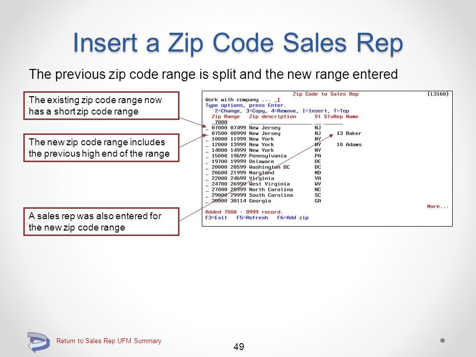 Insert a Zip Code Sales Rep Enter the zip code range for the new zip code record The existing zip code range to be split is identified 48 Return to Sales Rep UFM Summary Continue The user enters the zip codes of the new zip code range to be inserted A sales rep may also be assigned at the same time by either keying the sales rep, or by using the F4=Lookup function
