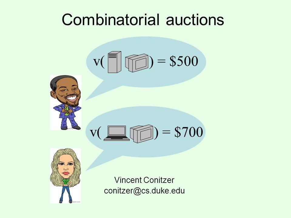 Combinatorial auctions Vincent Conitzer conitzer@cs.duke.edu v( ) = $500 v( ) = $700