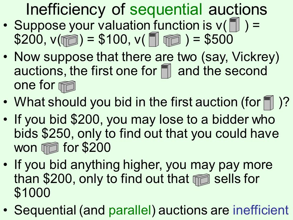 Inefficiency of sequential auctions Suppose your valuation function is v( ) = $200, v( ) = $100, v( ) = $500 Now suppose that there are two (say, Vickrey) auctions, the first one for and the second one for What should you bid in the first auction (for ).