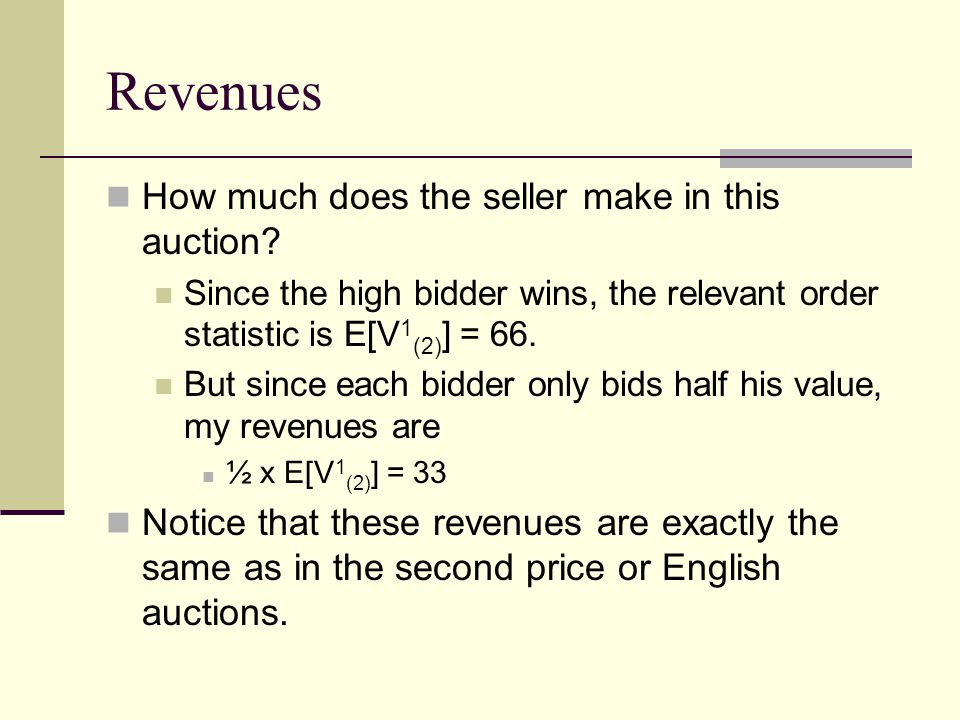 Revenues How much does the seller make in this auction.