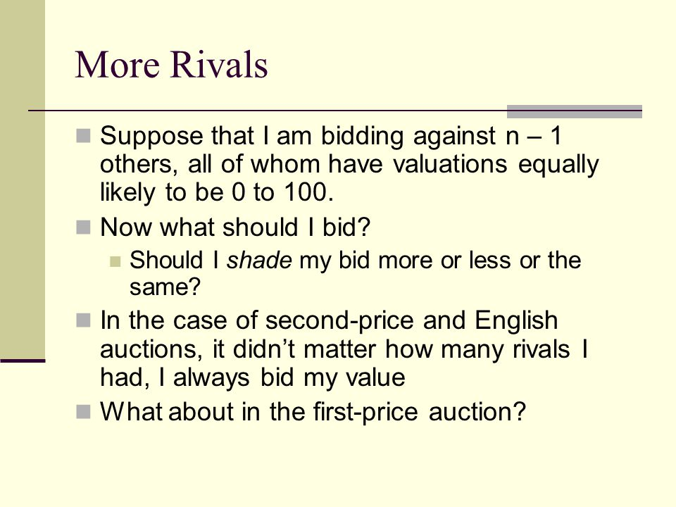 More Rivals Suppose that I am bidding against n – 1 others, all of whom have valuations equally likely to be 0 to 100.