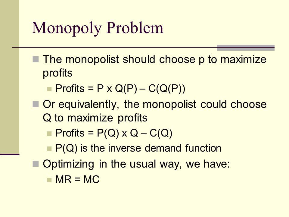 Monopoly Problem The monopolist should choose p to maximize profits Profits = P x Q(P) – C(Q(P)) Or equivalently, the monopolist could choose Q to maximize profits Profits = P(Q) x Q – C(Q) P(Q) is the inverse demand function Optimizing in the usual way, we have: MR = MC