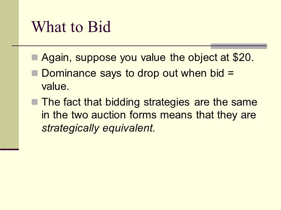What to Bid Again, suppose you value the object at $20.