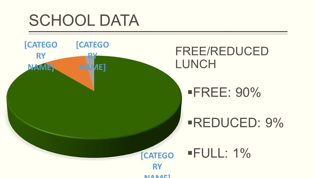 FREE/REDUCED LUNCH  FREE: 90%  REDUCED: 9%  FULL: 1%