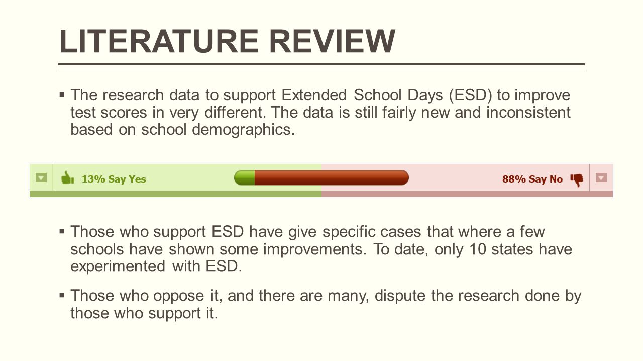  The research data to support Extended School Days (ESD) to improve test scores in very different.