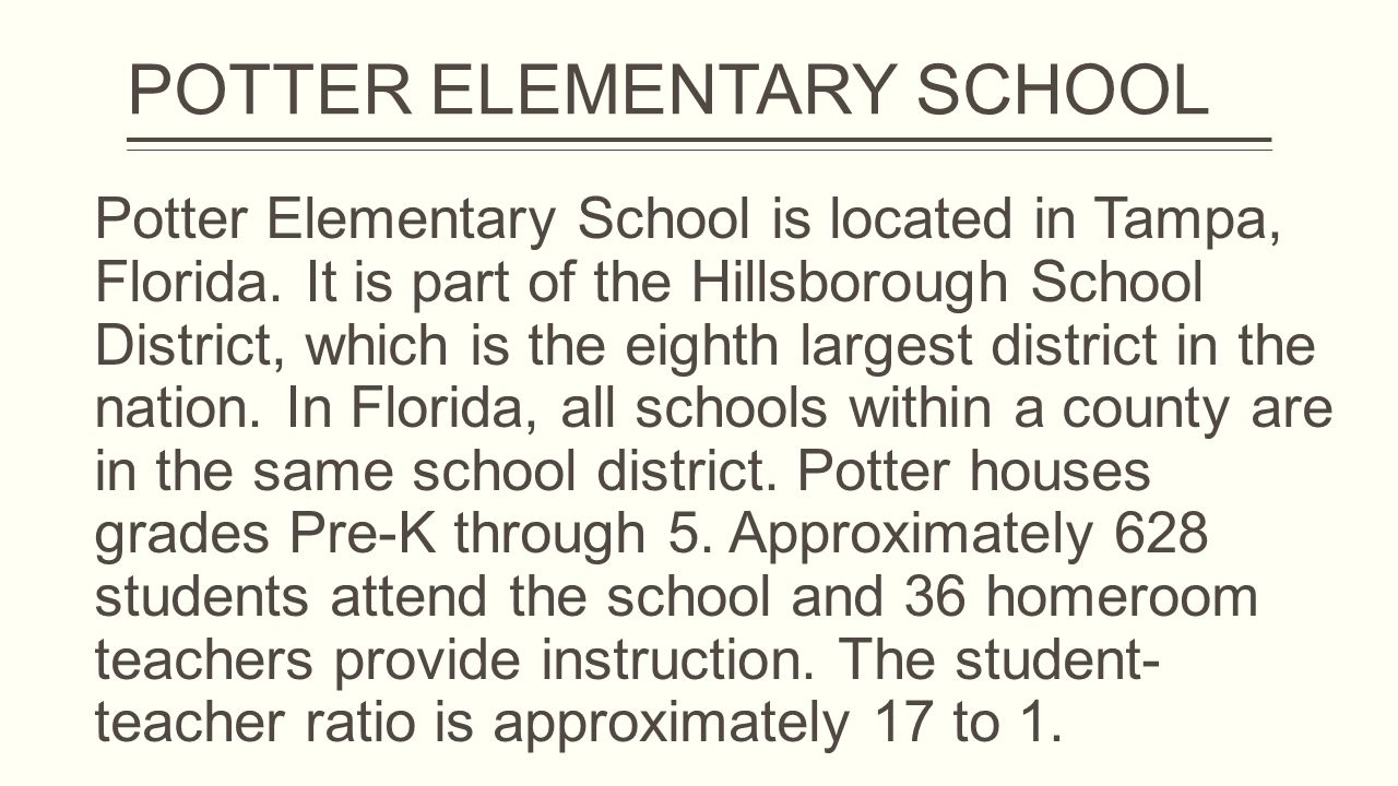 Potter Elementary School is located in Tampa, Florida.