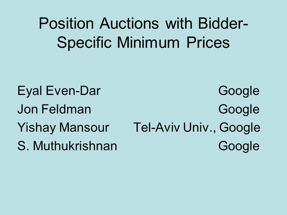 Position Auctions with Bidder- Specific Minimum Prices Eyal Even-DarGoogle Jon Feldman Google Yishay Mansour Tel-Aviv Univ., Google S.