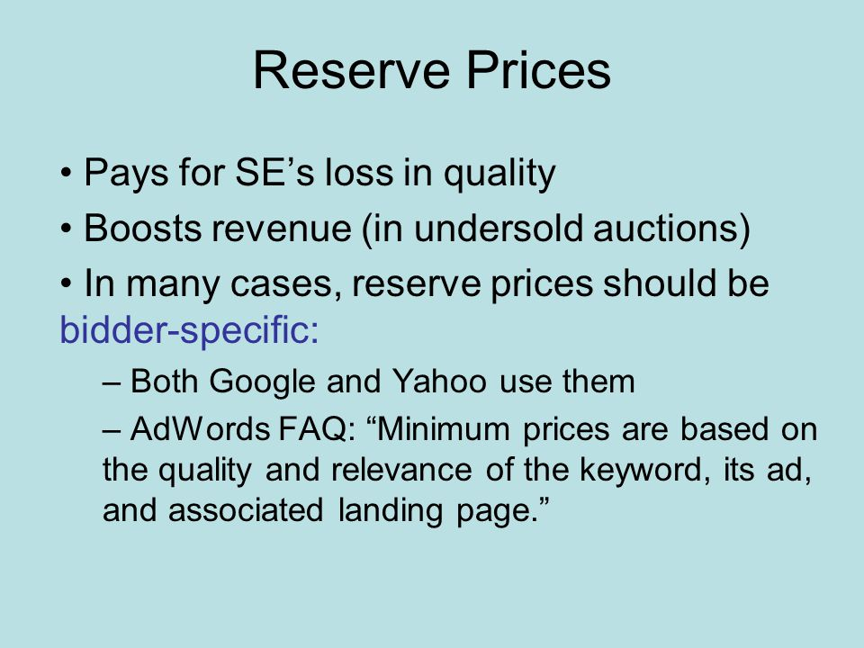 Our work How do bidder-specific reserve prices affect GSP.