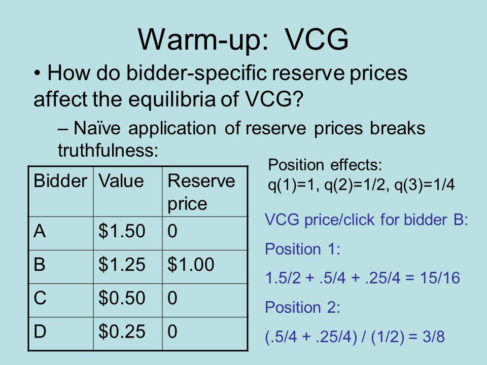 Warm-up: VCG How do bidder-specific reserve prices affect the equilibria of VCG.