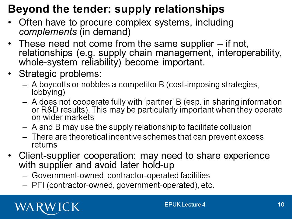 EPUK Lecture 410 Beyond the tender: supply relationships Often have to procure complex systems, including complements (in demand) These need not come