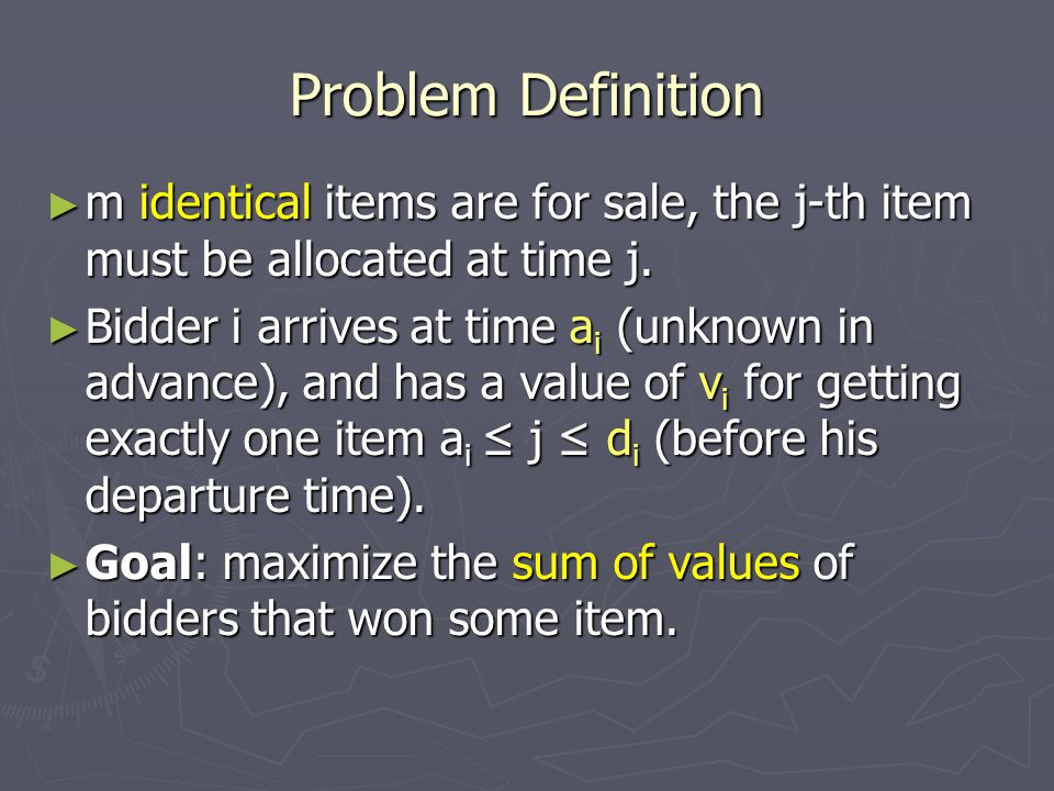 The Greedy Algorithm ► The greedy algorithm: at time t, assign item t to the bidder with the highest value that is available.