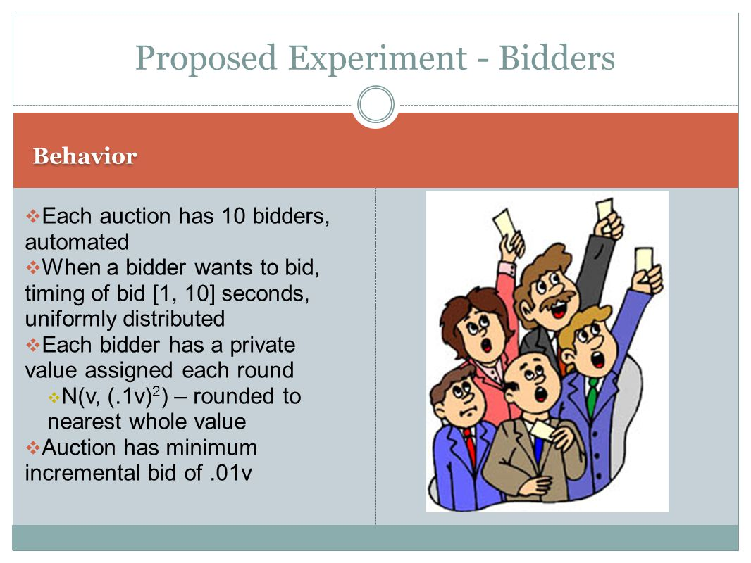 Behavior  Each auction has 10 bidders, automated  When a bidder wants to bid, timing of bid [1, 10] seconds, uniformly distributed  Each bidder has a private value assigned each round  N(v, (.1v) 2 ) – rounded to nearest whole value  Auction has minimum incremental bid of.01v Proposed Experiment - Bidders