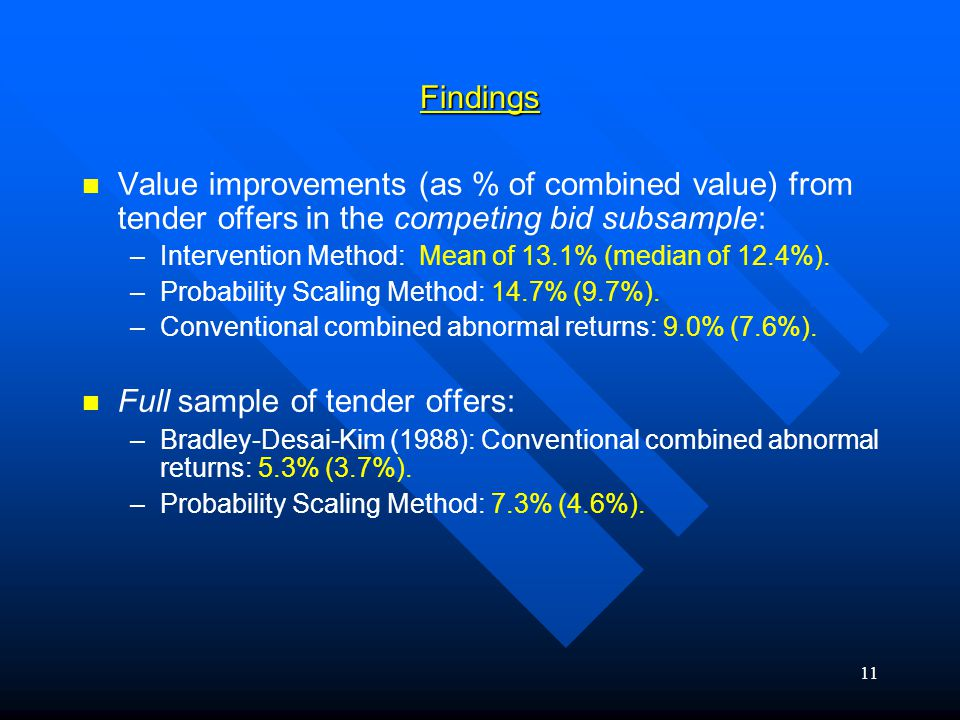 11Findings Value improvements (as % of combined value) from tender offers in the competing bid subsample: – –Intervention Method: Mean of 13.1% (median of 12.4%).