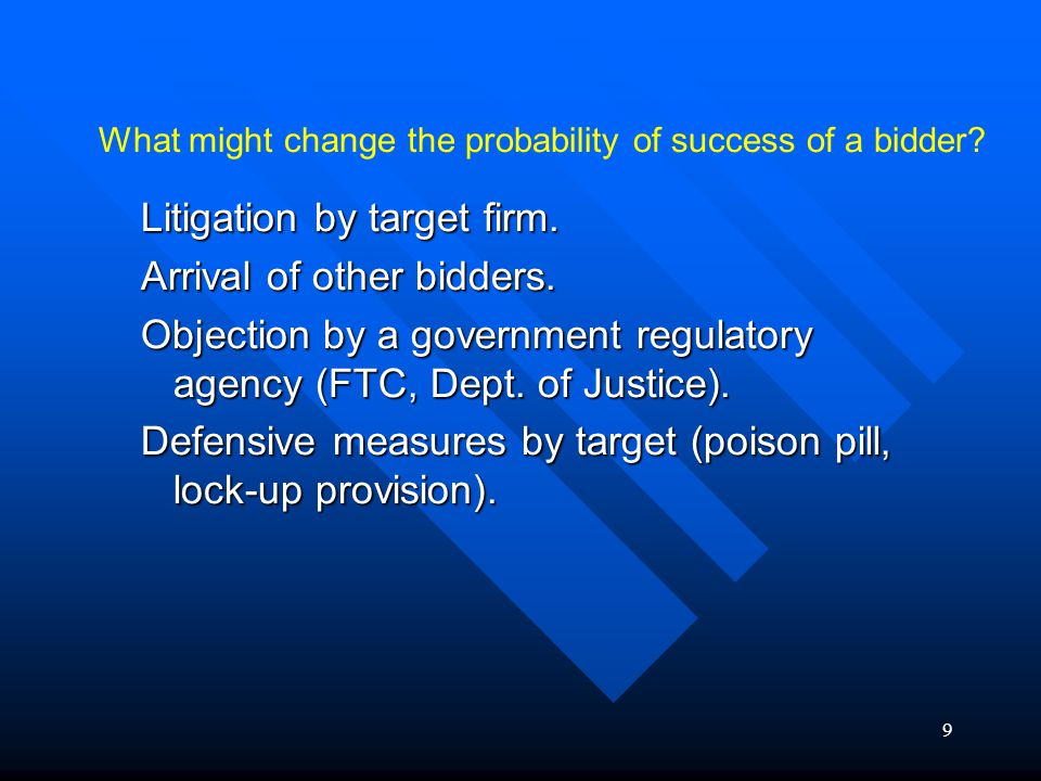 10 Arrival of a second bidder : Decreases probability of success of the first bidder.