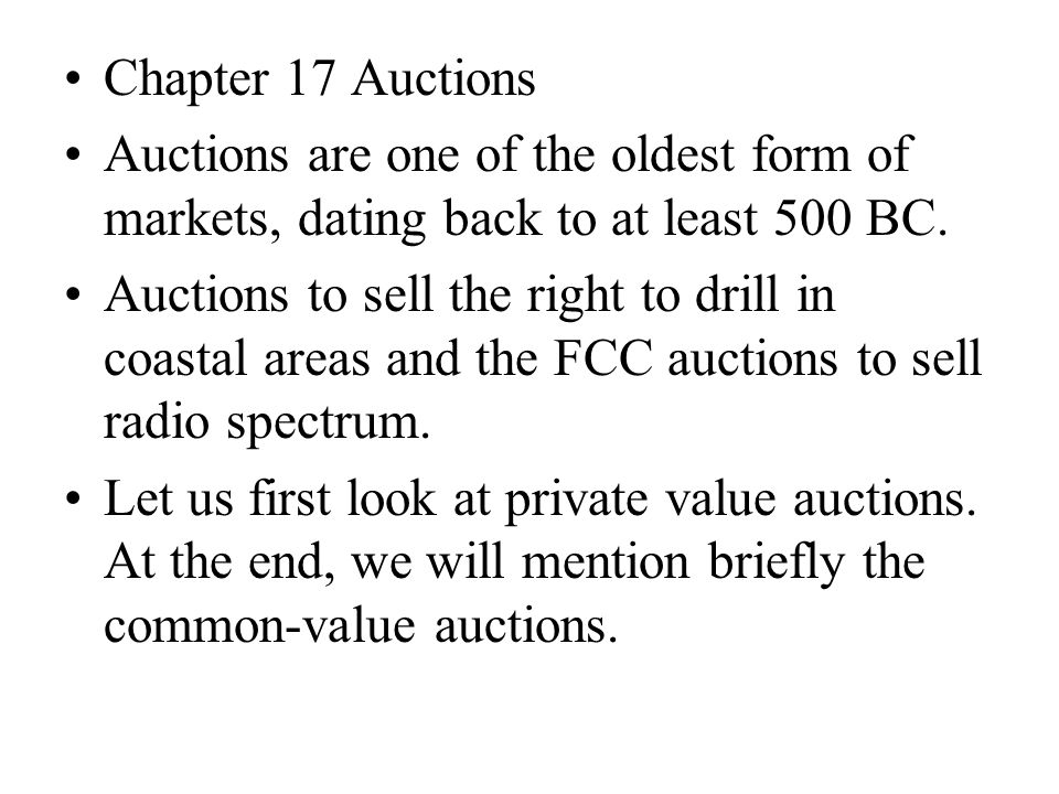 Bidding rules Open auctions English auctions (ascending auction): Bidders successively offer higher prices until no participant is willing to increase the bid further.