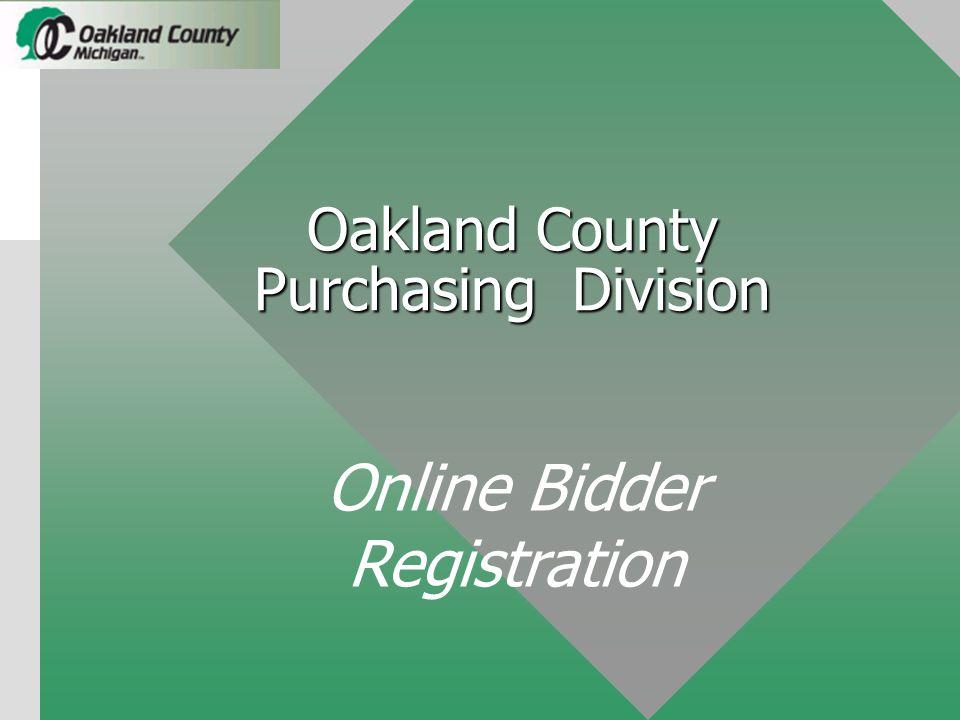Oakland County Purchasing Division Online Bidder Registration