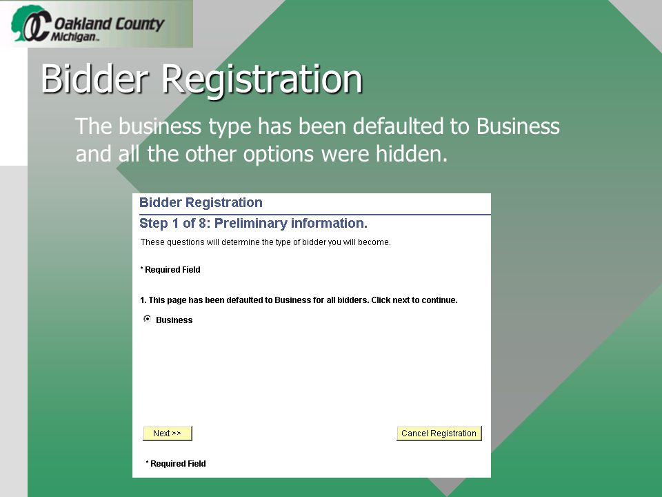Once the bidder submits the registration the system generates an email to the Purchasing System Administrator notifying them a bidder registration request is ready for review.