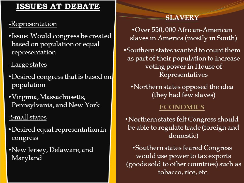 ISSUES AT DEBATE -Representation Issue: Would congress be created based on population or equal representation -Large states Desired congress that is b