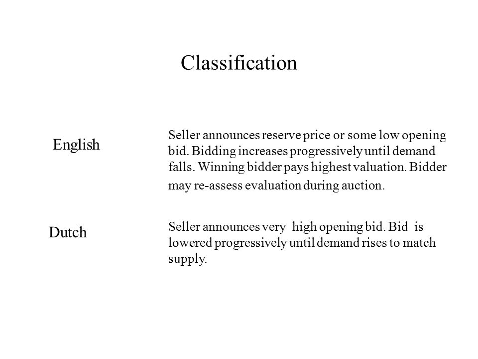 Classification English Seller announces reserve price or some low opening bid.