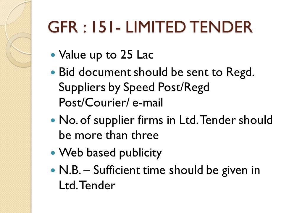 GFR : 151- LIMITED TENDER Value up to 25 Lac Bid document should be sent to Regd. Suppliers by Speed Post/Regd Post/Courier/ e-mail No. of supplier fi