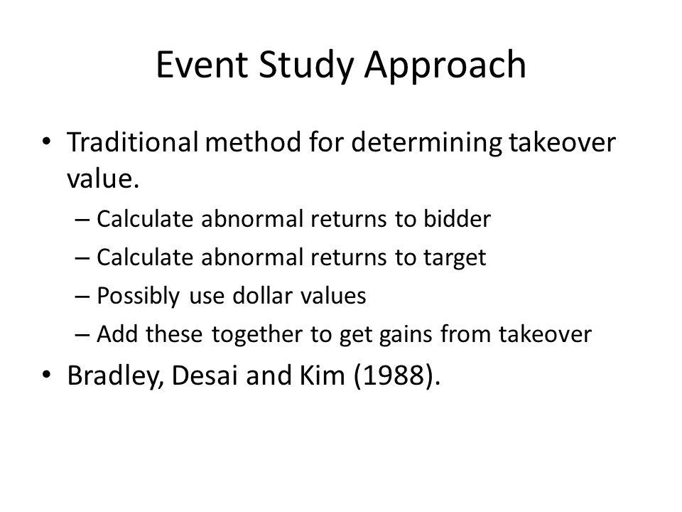 0 0 Target Cumulative Abnormal Return Bidder Cumulative Abnormal Return Event Study Approach