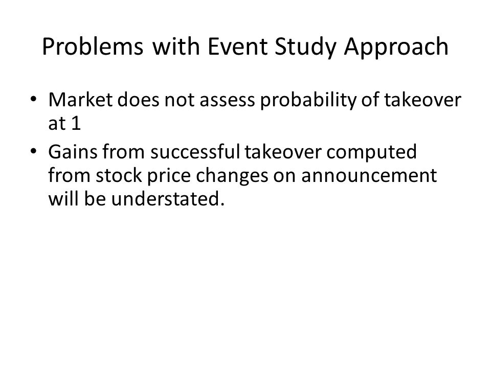 Contribution Our method provides ex ante estimation of parameters of the takeover.