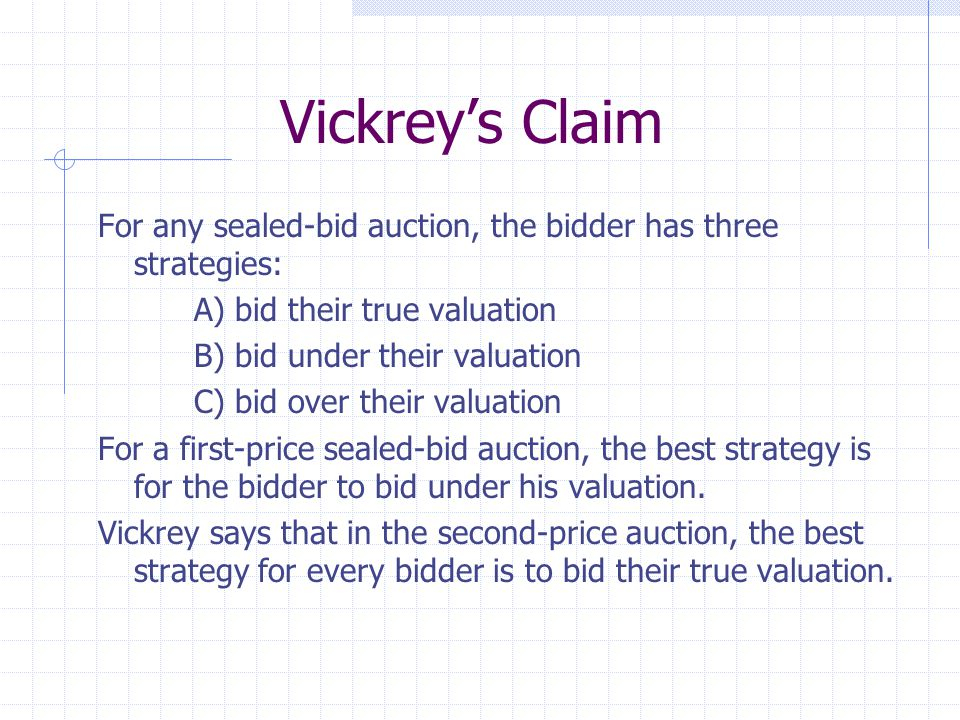 Vickrey's Claim For any sealed-bid auction, the bidder has three strategies: A) bid their true valuation B) bid under their valuation C) bid over their valuation For a first-price sealed-bid auction, the best strategy is for the bidder to bid under his valuation.