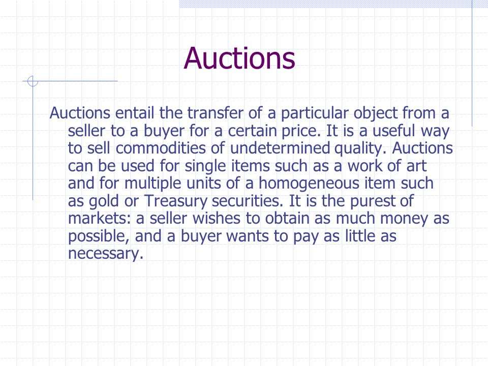 Why Vickrey's Claim is True Consider a second-price sealed-bid private-value auction for some item, and let v = your true valuation of the item b = your bid r = the highest bid besides yours All bids less than r are irrelevant, since they have no effect on whether you win or lose.
