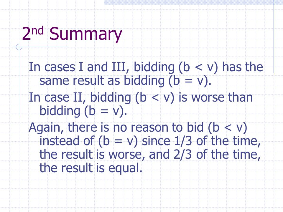 2 nd Summary In cases I and III, bidding (b < v) has the same result as bidding (b = v).