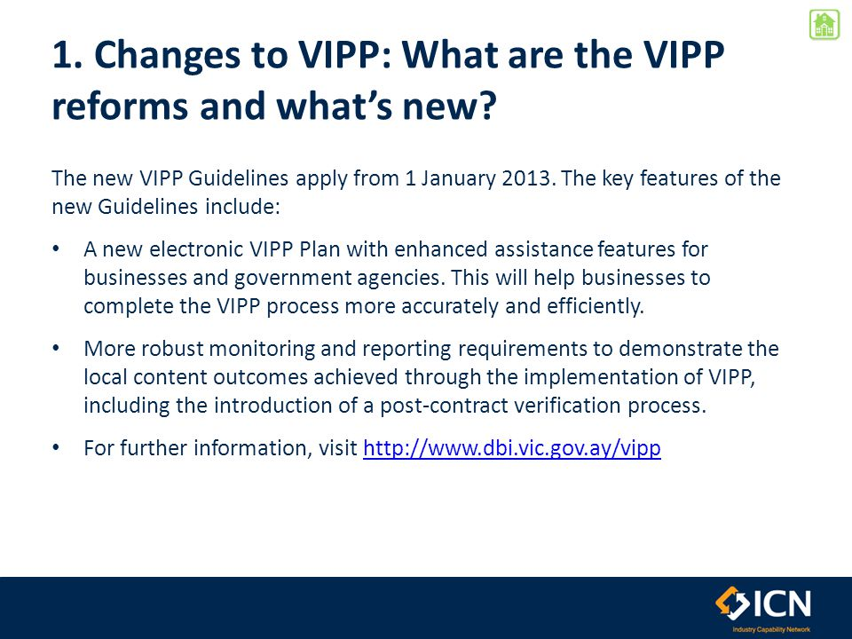 1.Changes to VIPP: What are the VIPP reforms and what's new.