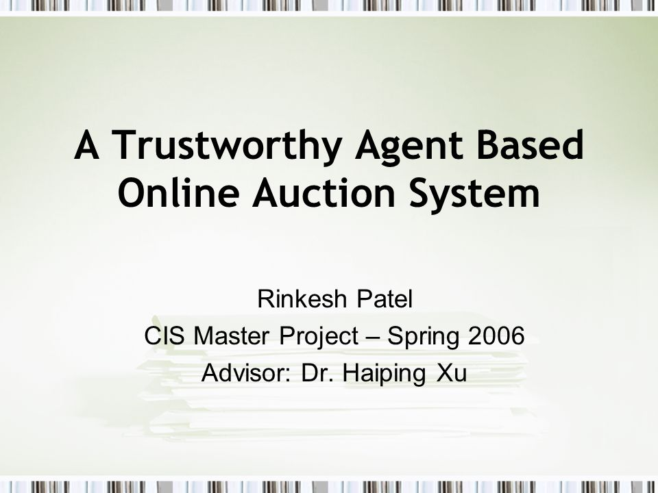 Auction Client GUI Agent –Receives commands from the user and acts correspondingly.