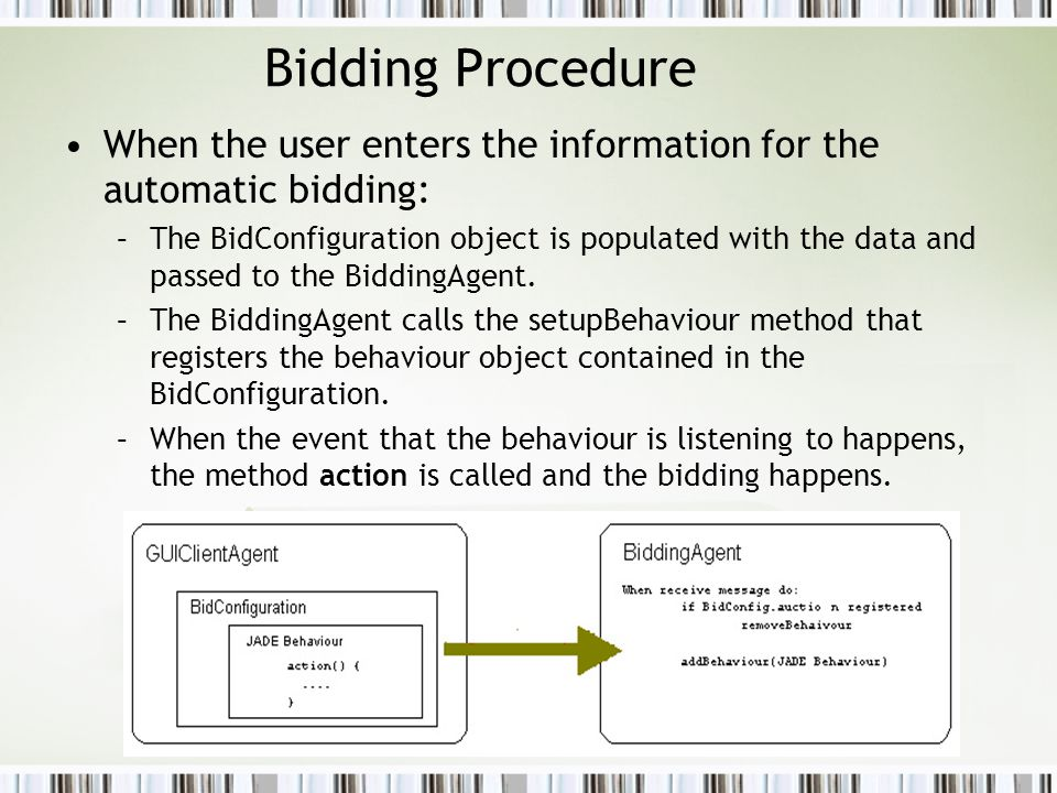 Bidding Procedure When the user enters the information for the automatic bidding: –The BidConfiguration object is populated with the data and passed to the BiddingAgent.