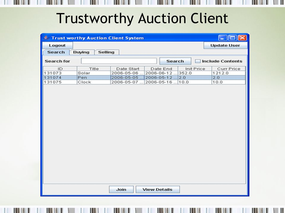 Trustworthy Auction Client