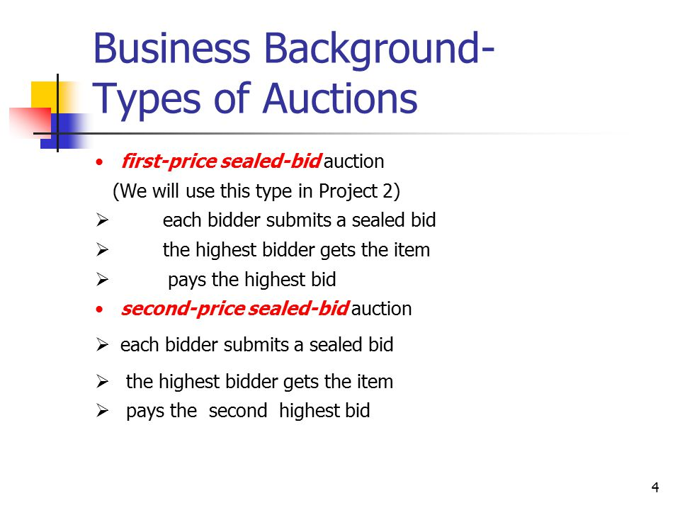 4 Business Background- Types of Auctions first-price sealed-bid auction (We will use this type in Project 2)  each bidder submits a sealed bid  the highest bidder gets the item  pays the highest bid second-price sealed-bid auction  each bidder submits a sealed bid  the highest bidder gets the item  pays the second highest bid