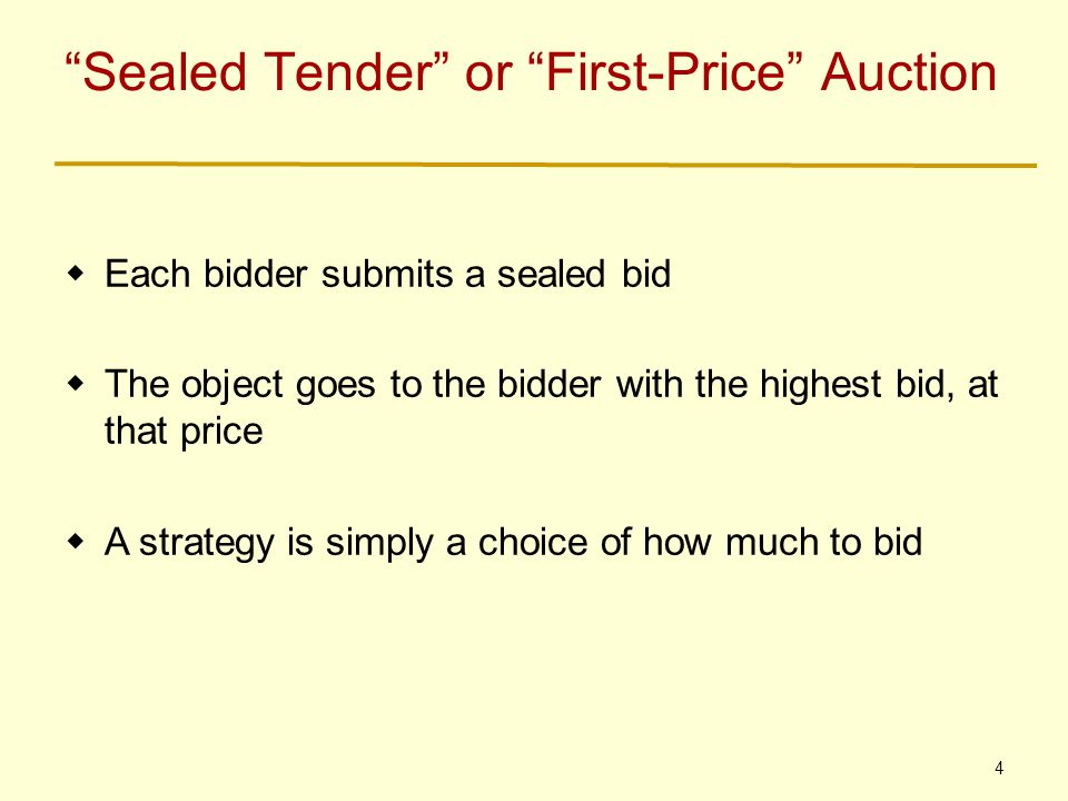 5 Dutch Auction = First-Price Auction  If all the matters is who wins the object and how much they pay, then the Dutch Auction and the First- Price Auction are equivalent  In each, a bidder's strategy is reduced to picking a number; the highest number wins, and pays that much