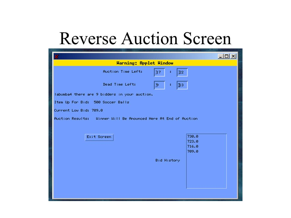 Reverse Auction Screen