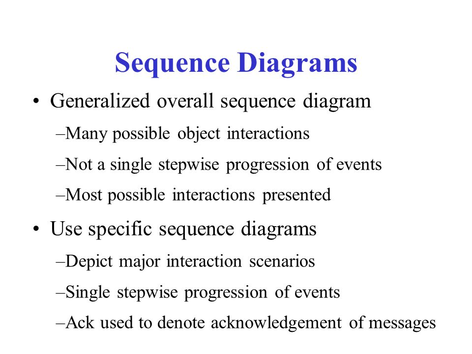 Sequence Diagrams Generalized overall sequence diagram –Many possible object interactions –Not a single stepwise progression of events –Most possible