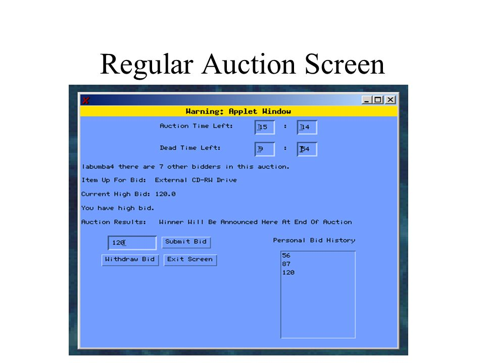Regular Auction Screen