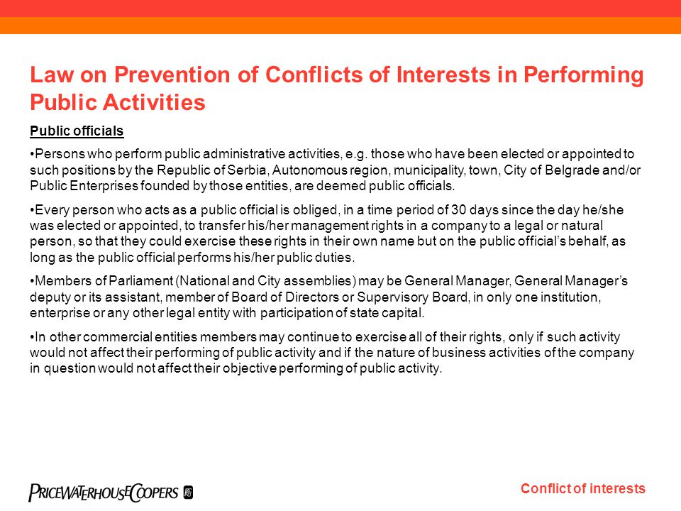Public officials Persons who perform public administrative activities, e.g.