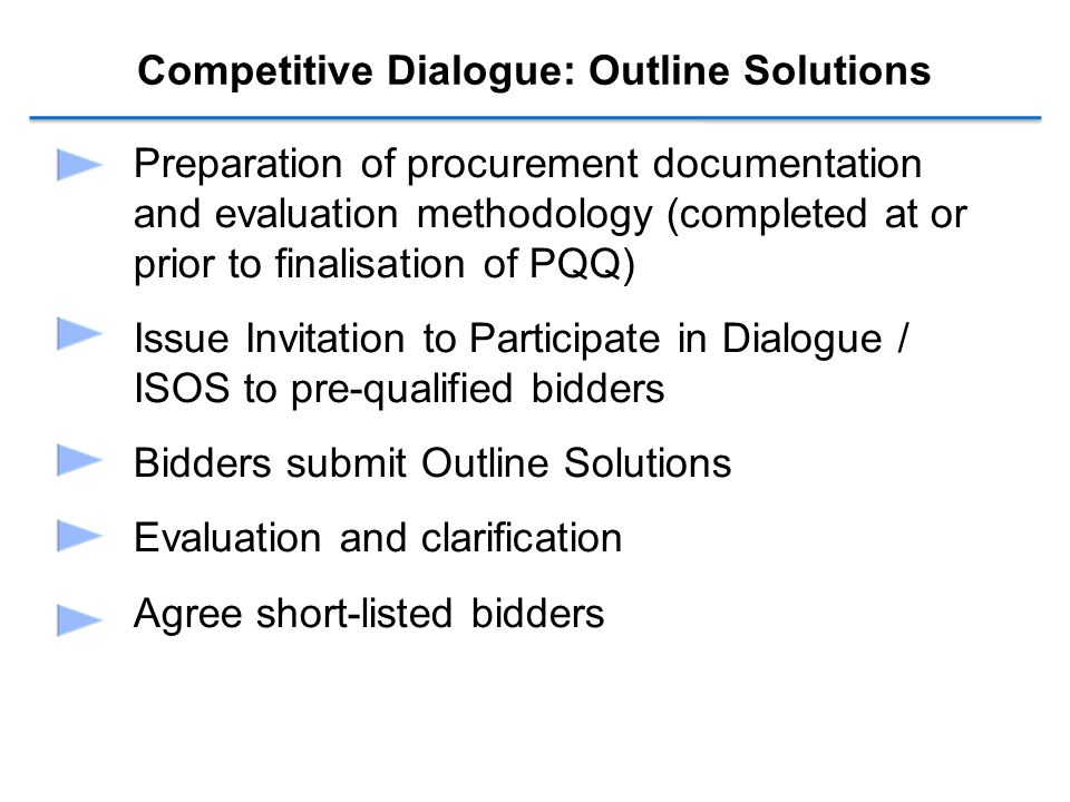 Competitive Dialogue: Outline Solutions Preparation of procurement documentation and evaluation methodology (completed at or prior to finalisation of