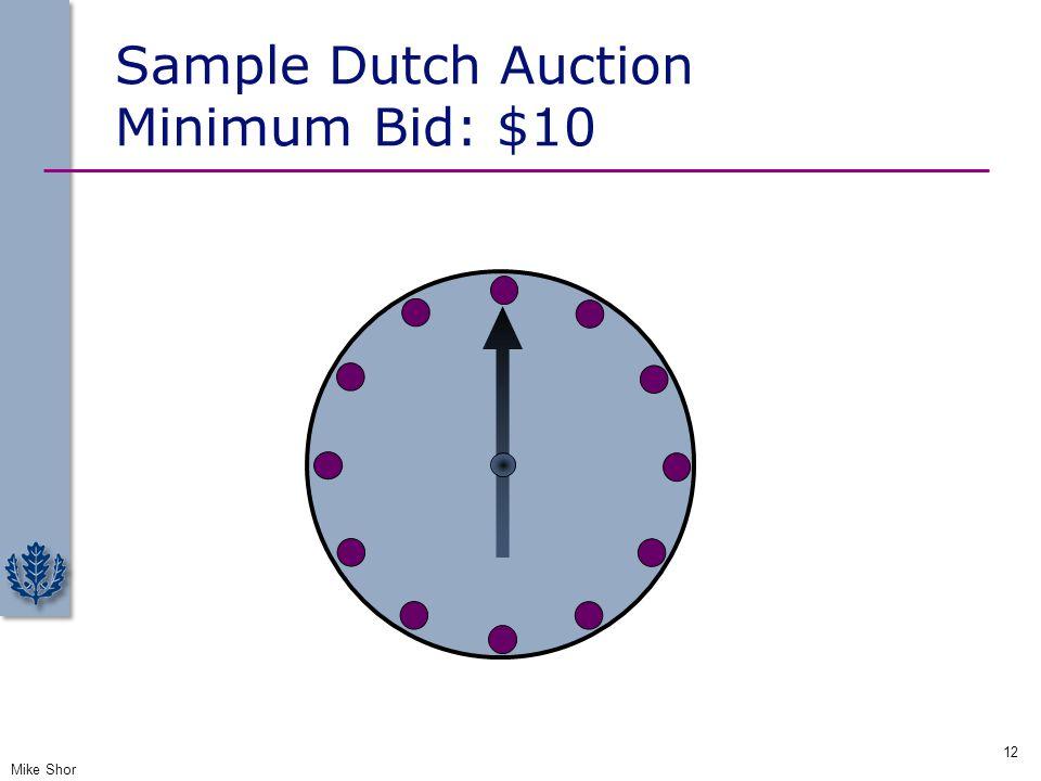 Sample Dutch Auction Minimum Bid: $10 Mike Shor 12