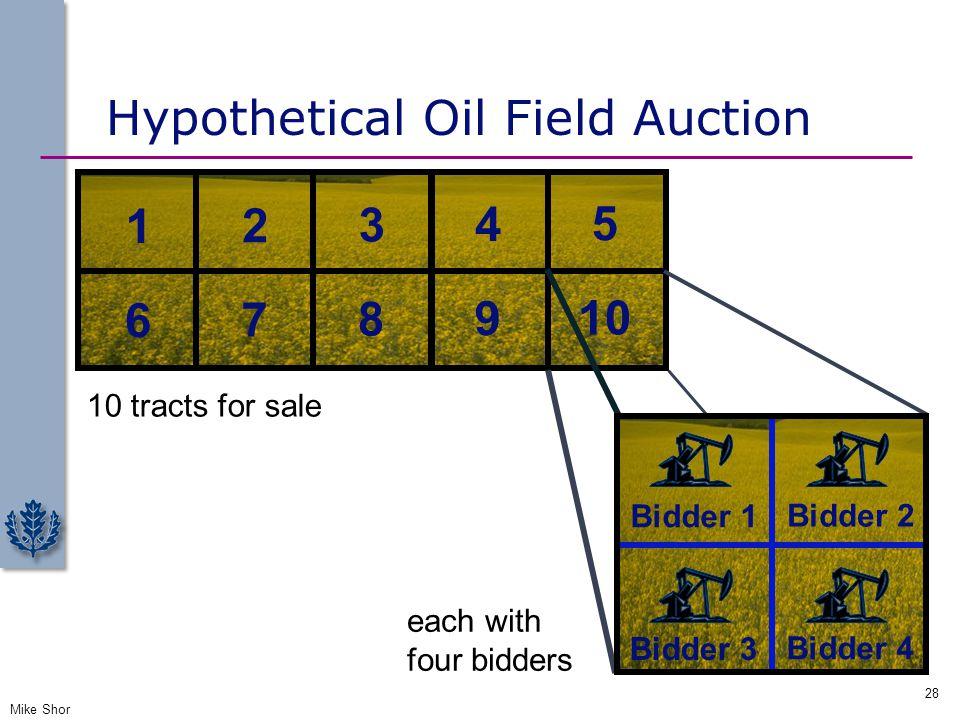Hypothetical Oil Field Auction Mike Shor 28 10 tracts for sale 1 2 3 4 5 6 7 8 9 10 each with four bidders Bidder 1 Bidder 2 Bidder 3 Bidder 4