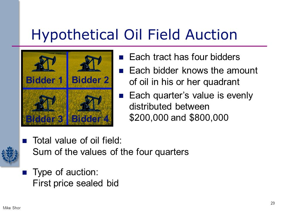 Hypothetical Oil Field Auction Mike Shor 29 Bidder 1 Bidder 2 Bidder 3 Bidder 4 Each tract has four bidders Each bidder knows the amount of oil in his