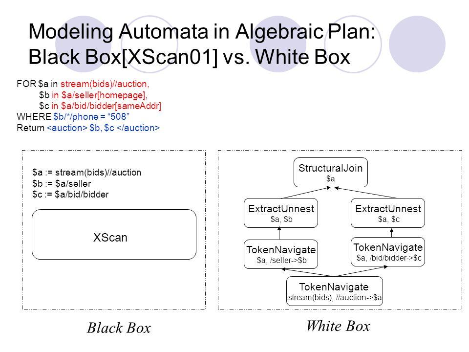 Modeling Automata in Algebraic Plan: Black Box[XScan01] vs.