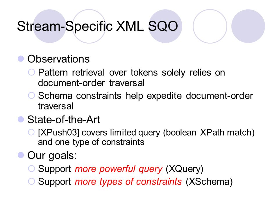 Stream-Specific XML SQO Observations  Pattern retrieval over tokens solely relies on document-order traversal  Schema constraints help expedite document-order traversal State-of-the-Art  [XPush03] covers limited query (boolean XPath match) and one type of constraints Our goals:  Support more powerful query (XQuery)  Support more types of constraints (XSchema)